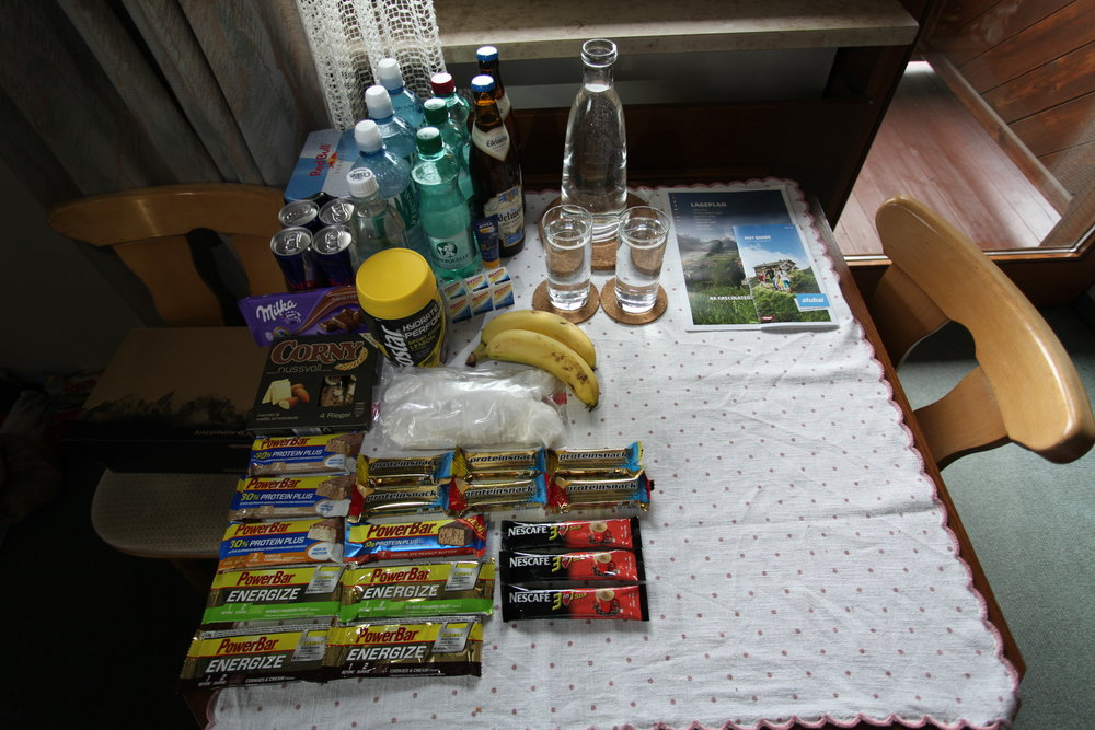 The snacks that we brought. The Edelweiss was for after we completed the loop. The mountain huts had food and beer.