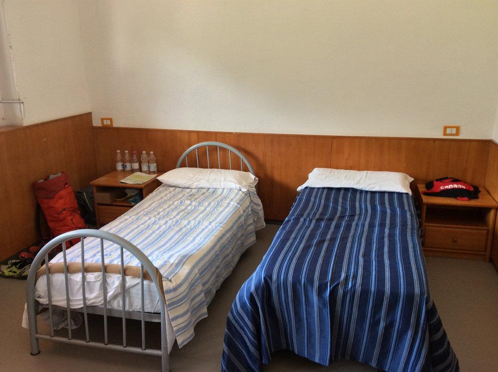 Dorm style bedrooms.