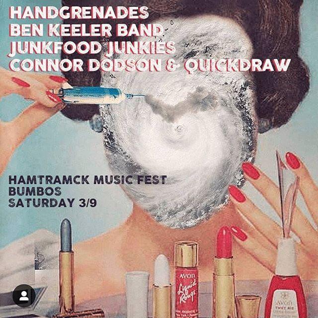 @hamtramckmusicfest is here! casshhh is inside @bumbos_bar tomorrow getting frogggy w/ @keelerben  @junk_food_junkies  @cd_quickdraw 🐸🐸 🐸 🐸  #hmf #saturday #strohspaleale