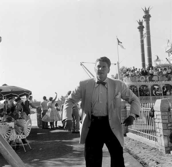 "Ronald Reagan hosts the ""Dateline: Disneyland"" broadcast on ABC on July 17, 1955. Credit: Getty Images."
