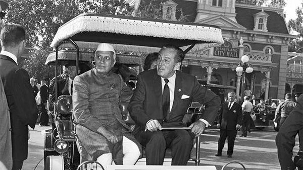 Walt Disney and Prime Minister Nehru of India tour Disneyland in 1961. Credit: Corbis