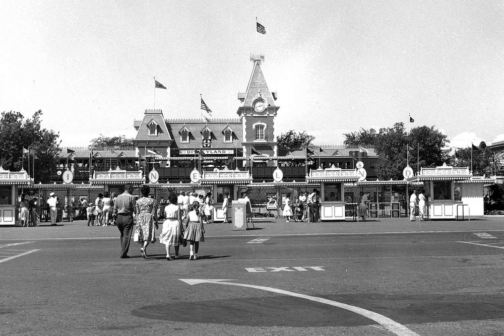 Disneyland entrance, Anaheim, circa 1960