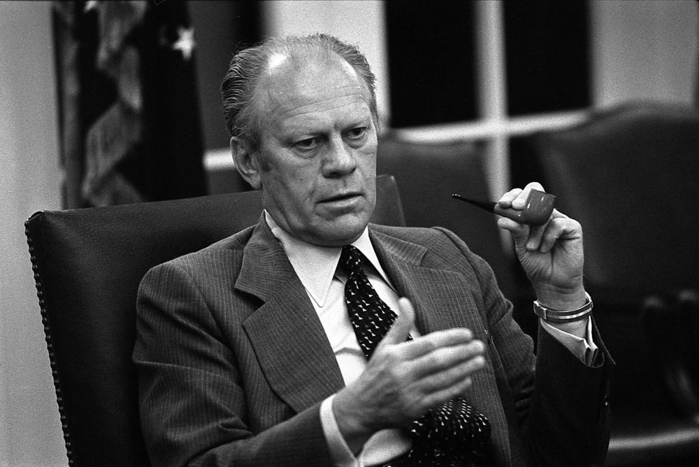 Photograph of President Gerald R. Ford making a point in a National Security Council Meeting during the Mayaguez crisis. -Gerald R. Ford Presidential Library and Museum