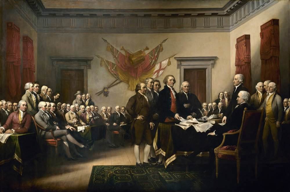 John Trumbull's painting,Declaration of Independence, depicting the five-man drafting committee of the presenting their work to the Congress. The painting can be found on the back of the U.S.$2 bill. The original hangs in the US Capitol rotunda.