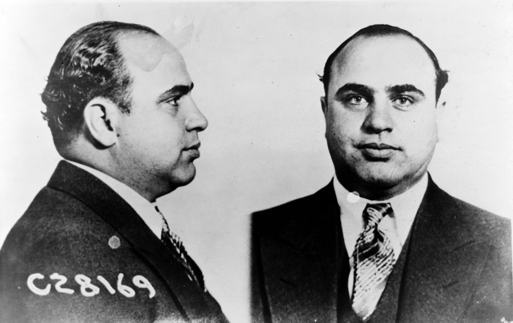 Al Capone. Mugshot information from Science and Society Picture Gallery:Al Capone (1899-1947), American gangster, 17 June 1931. 'Al Capone sent to prison. This picture shows the Bertillon photographs of Capone made by the US Dept of Justice.