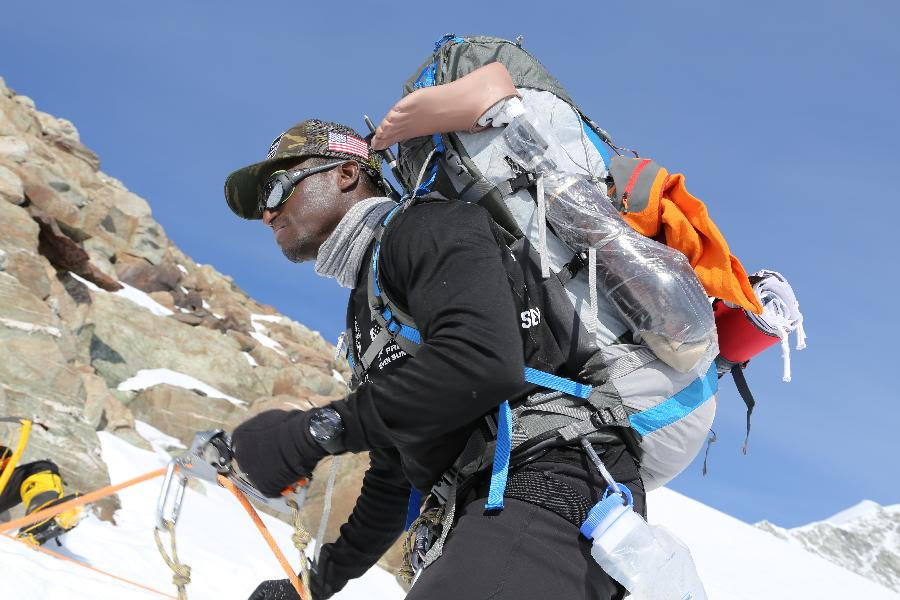 Cpl. Kionte Storey during a recent climb. (Courtesy of Kionte Storey)