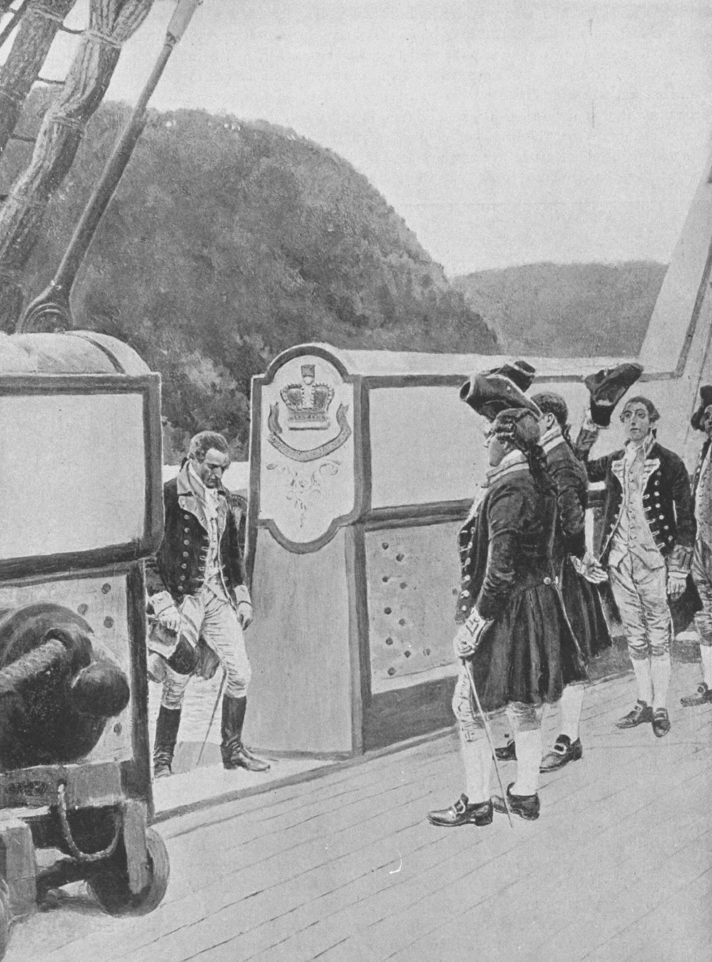 The escape of American Revolutionary general and traitor Benedict Arnold onto the British ship Vulture. (Credit: Time Life Pictures/Mansell/The LIFE Picture Collection/Getty Images)
