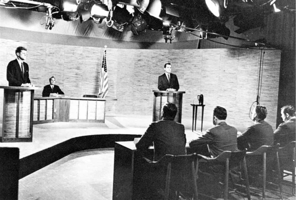 Photo of the second of the four presidential debates held during the 1960 presidential election. This debate took place in Washington D.C. at NBC's WRC-TVstudios on October 7, 1960.