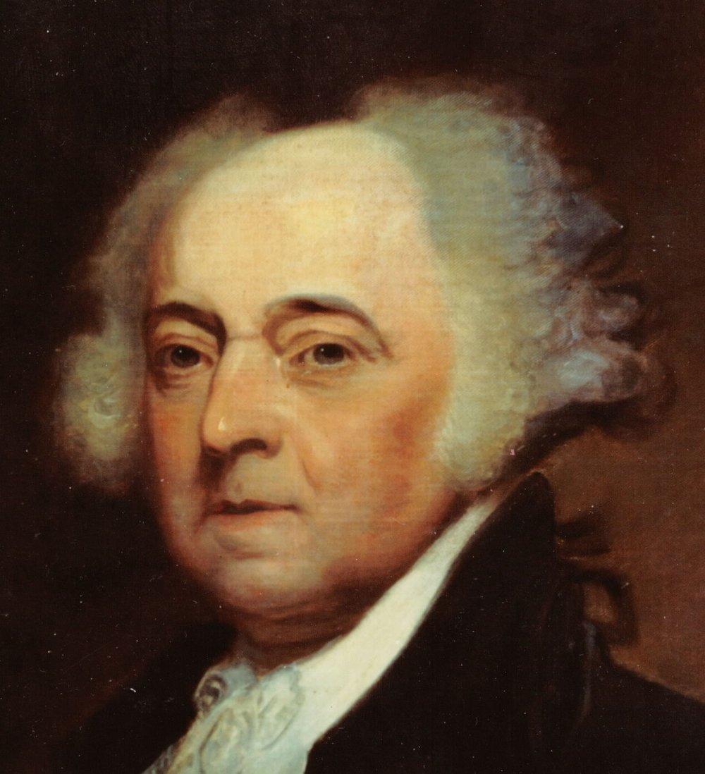 Close-up of head of John Adams