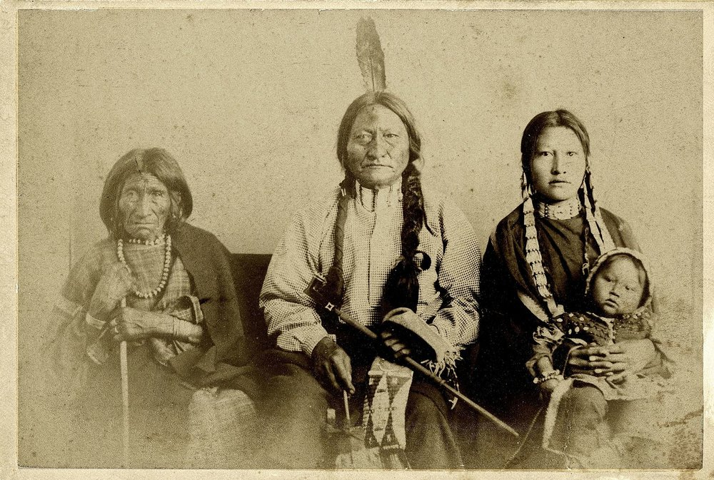 Sitting Bull and Family while at Fort Randall summer or fall 1881