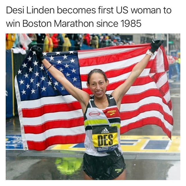 Who run the world? @desilindenig - that's who 🇺🇸 - Per the @guardian: Desiree Linden splashed her way through icy rain and a near-gale headwind to win the Boston Marathon on Monday, the first victory for an American woman since 1985 - ending the 33 year US drought. - @legends.of.glory