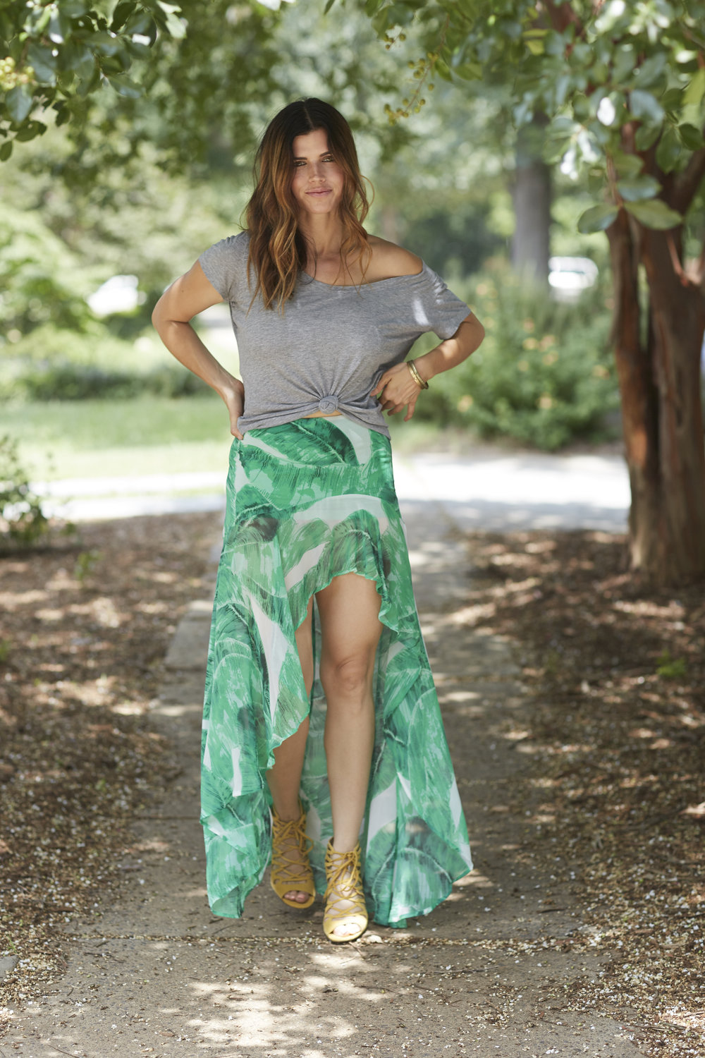 keep palm in paradise maxi skirt high low hem