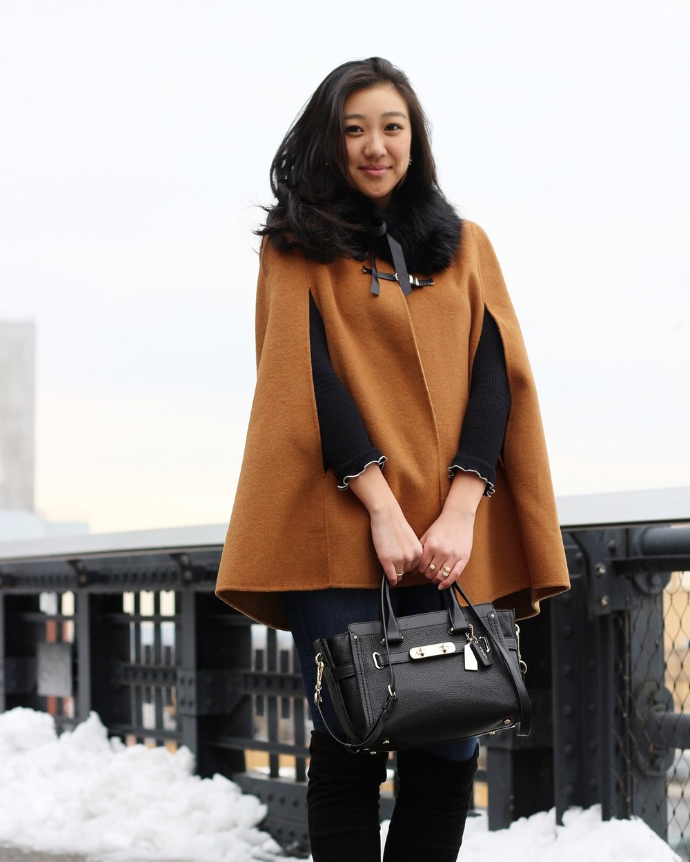 Cape: Zara but it's sold out so I've linked a similar here | Bag: Coach | Faux Fur Stole: BCBGeneration | Boots: Stuart Weitzman