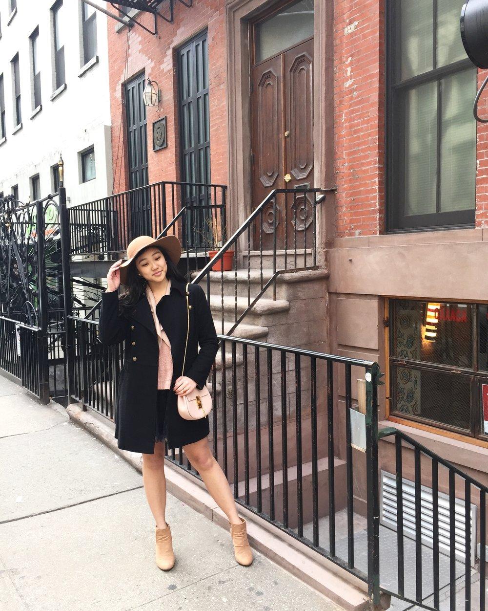 Hat:  Forever 21  | Bag:  Chloe  | Coat:  Nordstrom  | Tulle Skirt:  Charlotte Russe  | Boots:  Forever 21