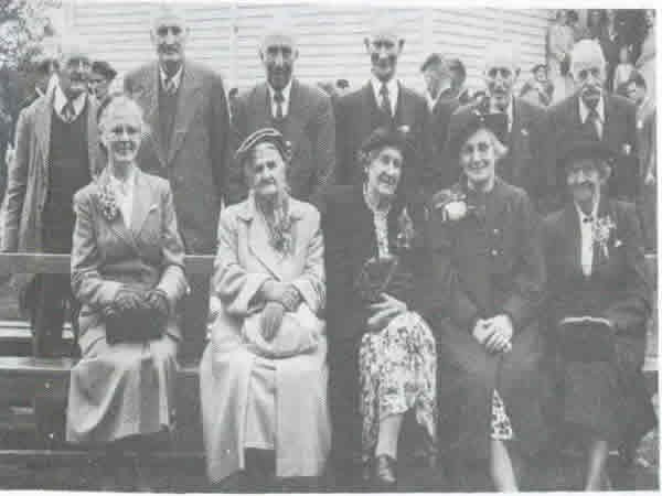 Oropi School's 50th Jubilee - Old identities at the Golden Jubilee.Back row from left; Mr E. Wasley, Mr S. Fleming, Mr J.K. Hamilton, Mr A. Mcphail, Mr J. Steward, Mr H.ThistlewaiteFront row; Mrs S. Fleming, Mrs Newton, Mrs J. Rogers, Mrs J. McKenzie, (Postmistress for many years), Mrs J. Gasson