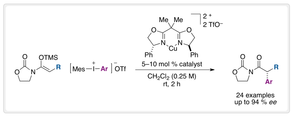 Enantioselective α-Arylation of  N -Acyloxazolidinones with Copper(II)-bisoxazoline Catalysts and Diaryliodonium Salts   A new strategy for the catalytic enantioselective α-arylation of N-acyloxazolidinones with chiral copper(II)-bisoxazoline complexes and diaryliodonium salts is described. The mild catalytic conditions are operationally simple, produce valuable synthetic building blocks in excellent yields and enantioselectivities, and can be applied to the synthesis of important nonsteroidal anti-inflammatory agents and their analogues.