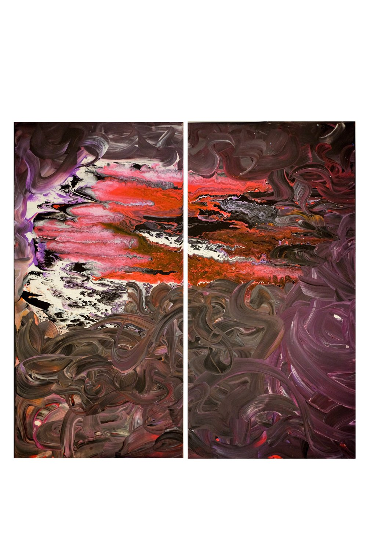 "Diptic 18""x36"" (2 panels) acrylic on canvas"