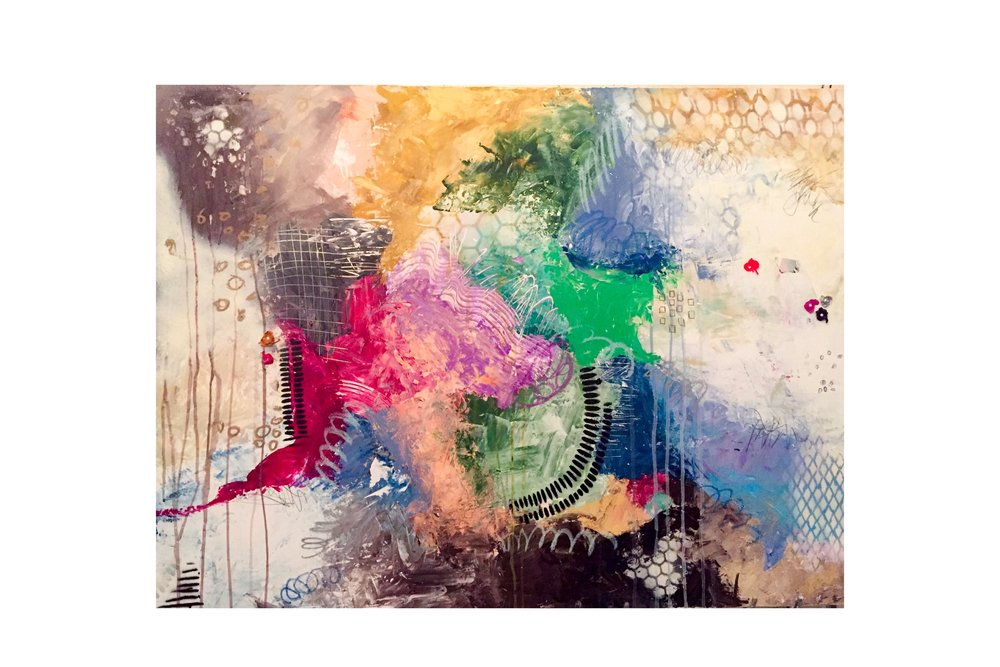 """30""""x40"""" mixed media on canvas - acrylic, graphite, oil pastel, and collage"""