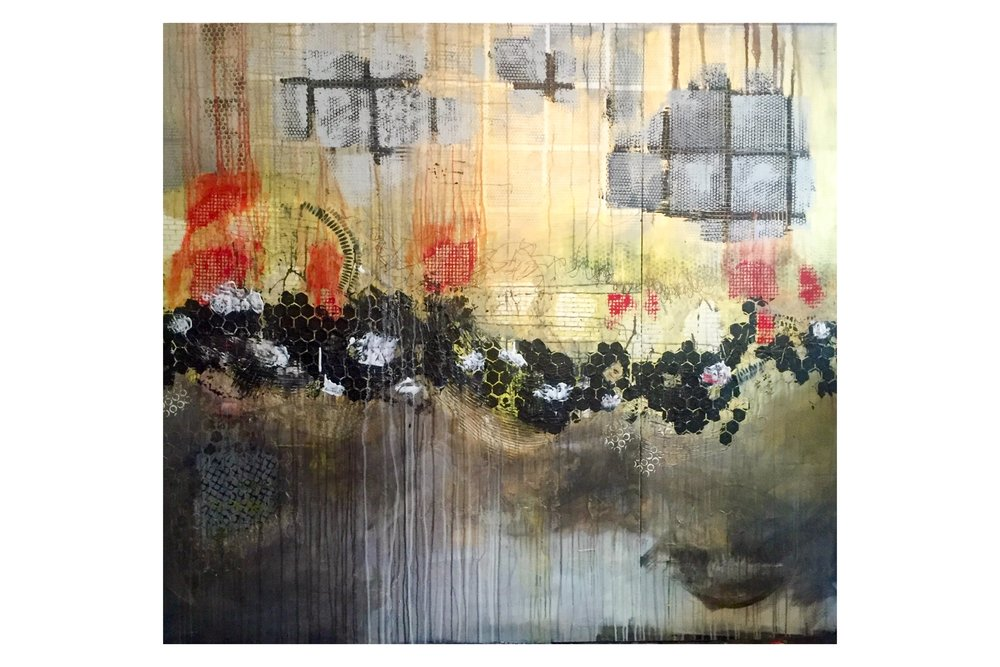 """60""""x68"""" mixed media on canvas - acrylic, gouache, graphite, and collage"""