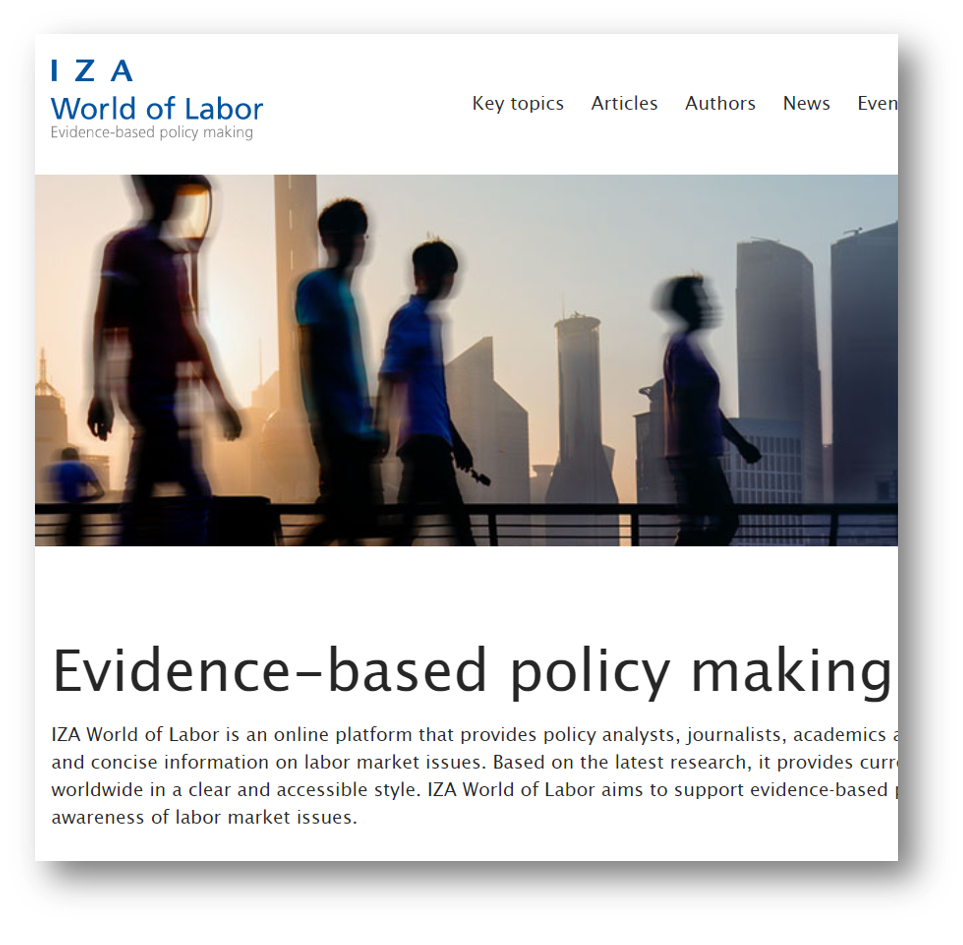 Featured Case Study - IZA WORLD OF LABORIZA is an independent economic research institute that conducts research in labor economics and offers evidence-based policy advice on labor market issues. Supported by the Deutsche Post Foundation, IZA runs the world's largest network of economists, whose research provides answers to the global labor market challenges of our time.