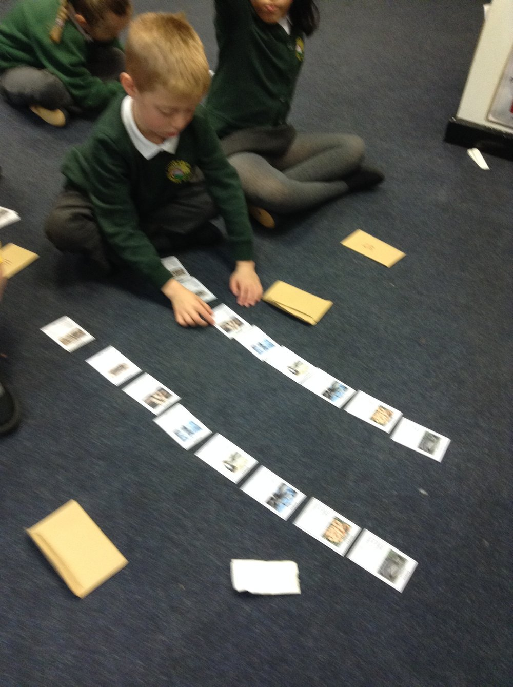 Sorting cards in numerical orders.