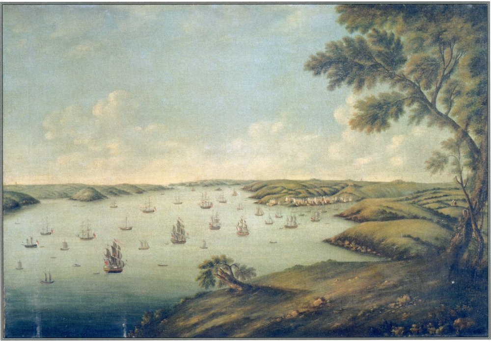 Milford Haven  - from a painting of 1776 by J.R. Atwood.    The waterway was busy with trading vessels plying around the coasts of western and southern Britain, Ireland, and overseas to the Americas. Featured is the village of Hubberstone which became the packet station in 1787 and provided the nucleus of the town of Milford Haven, laid out by R.F. Greville in 1796.