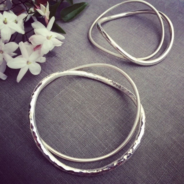 Solid Sterling Silver Double Bangle Sets. $195