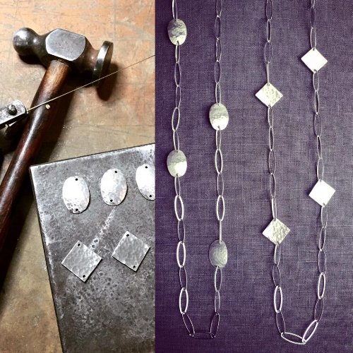The before and after process of making chain necklaces