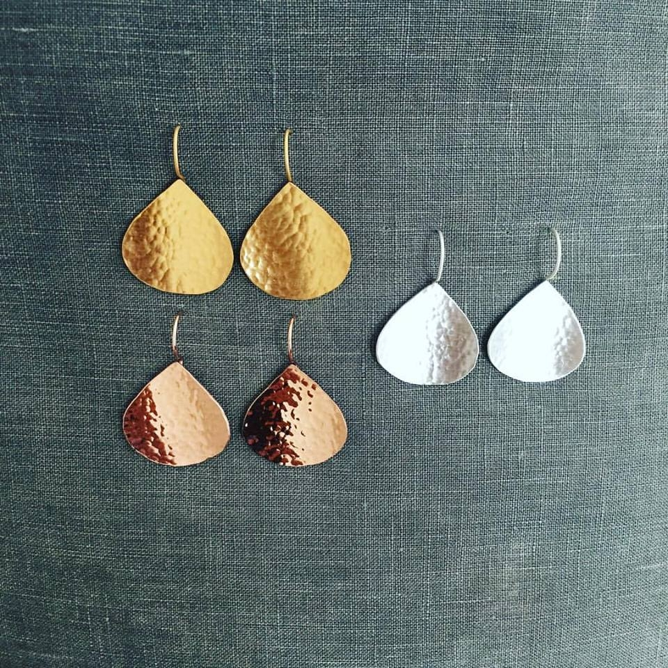 Beautiful hammered teardrop earrings in Rose Gold, Yellow Gold or Sterling Silver. Sterling Silver $85. Gold $105.