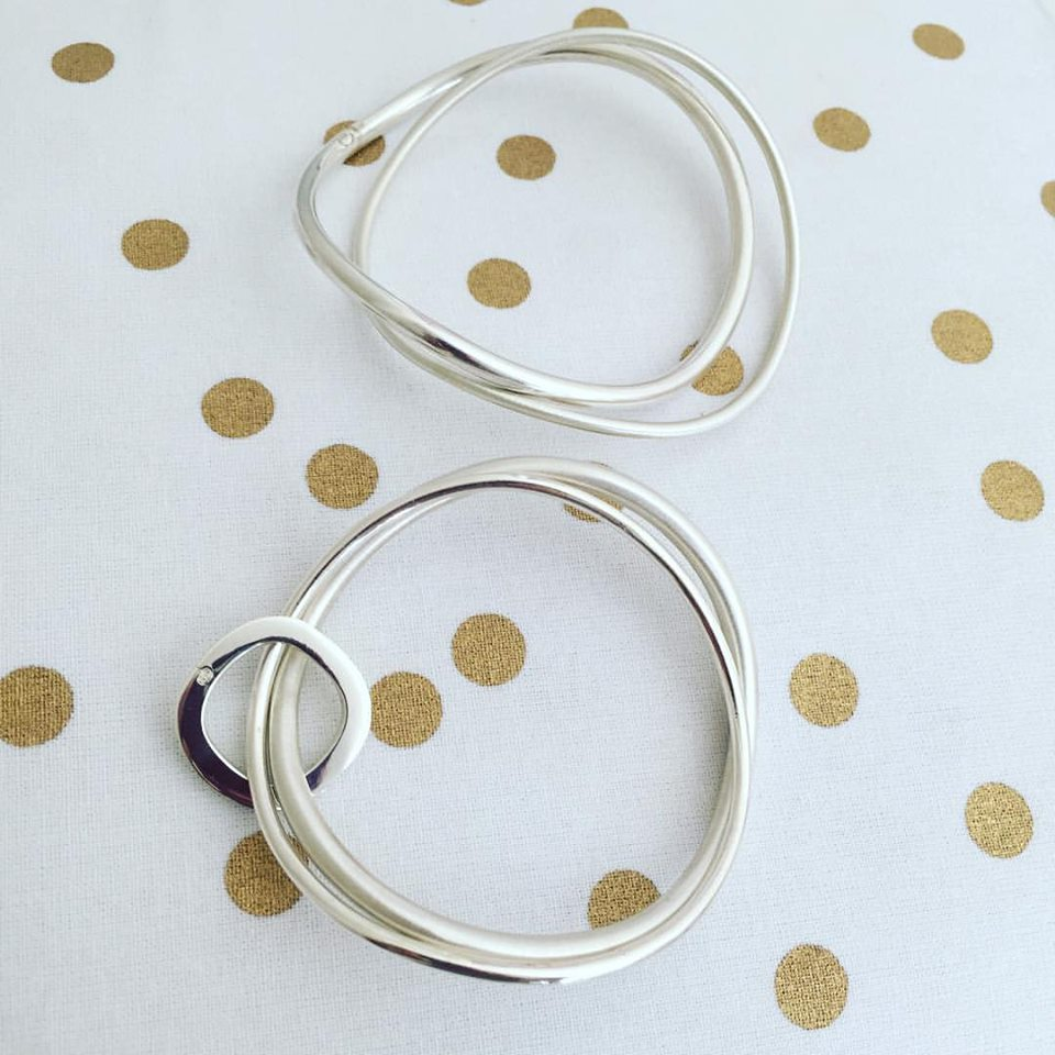 Each Sterling Silver bangle is handcrafted by hand. Bangles range from $195 to $245.