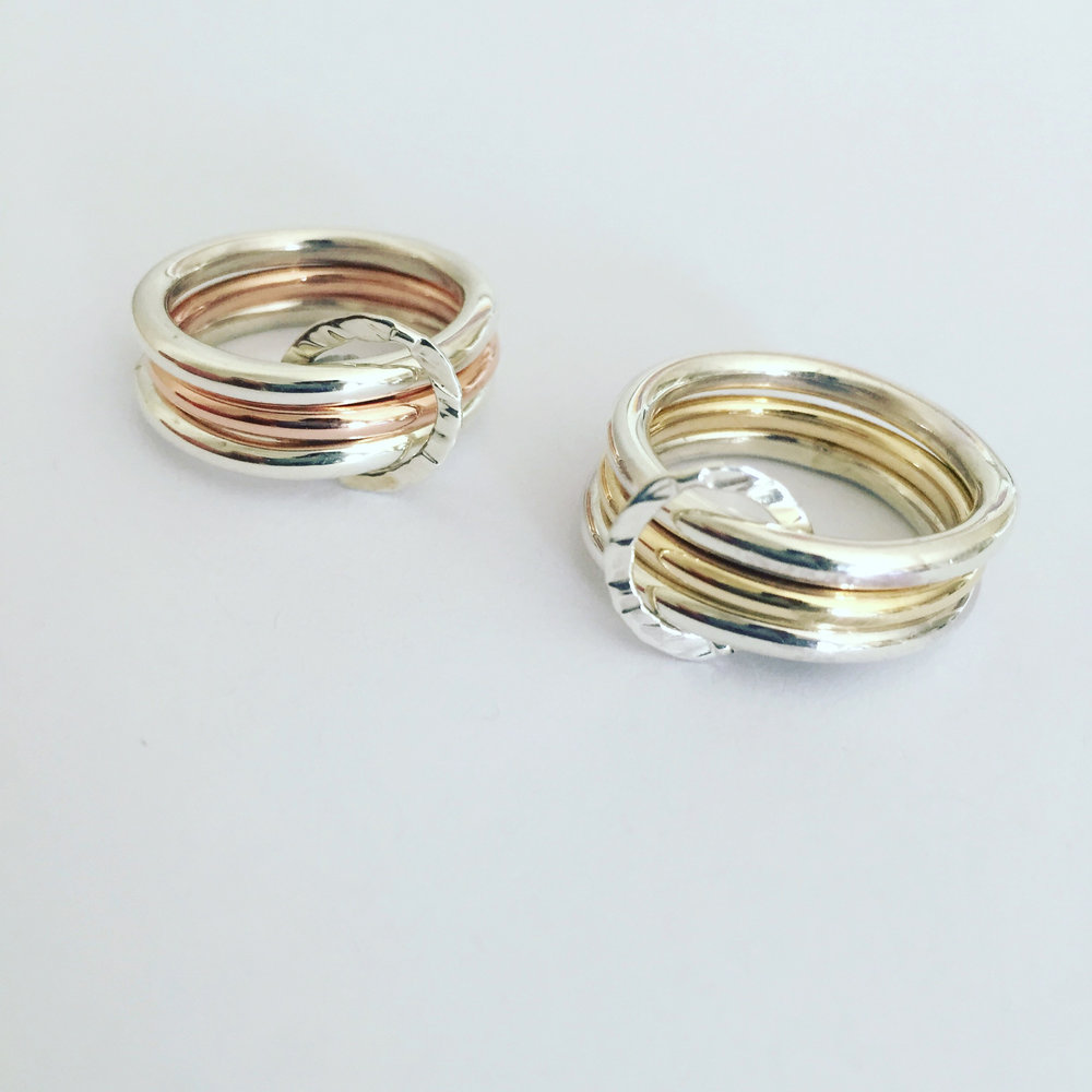 Rose Gold and Yellow Gold with Sterling Silver Ring Sets