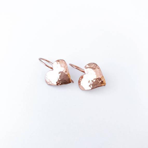 Petite heart Rose Gold drop earrings