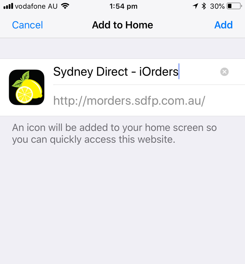 STEP 2 - Add the Sydney Direct Fresh Icon to your home screen as shown.