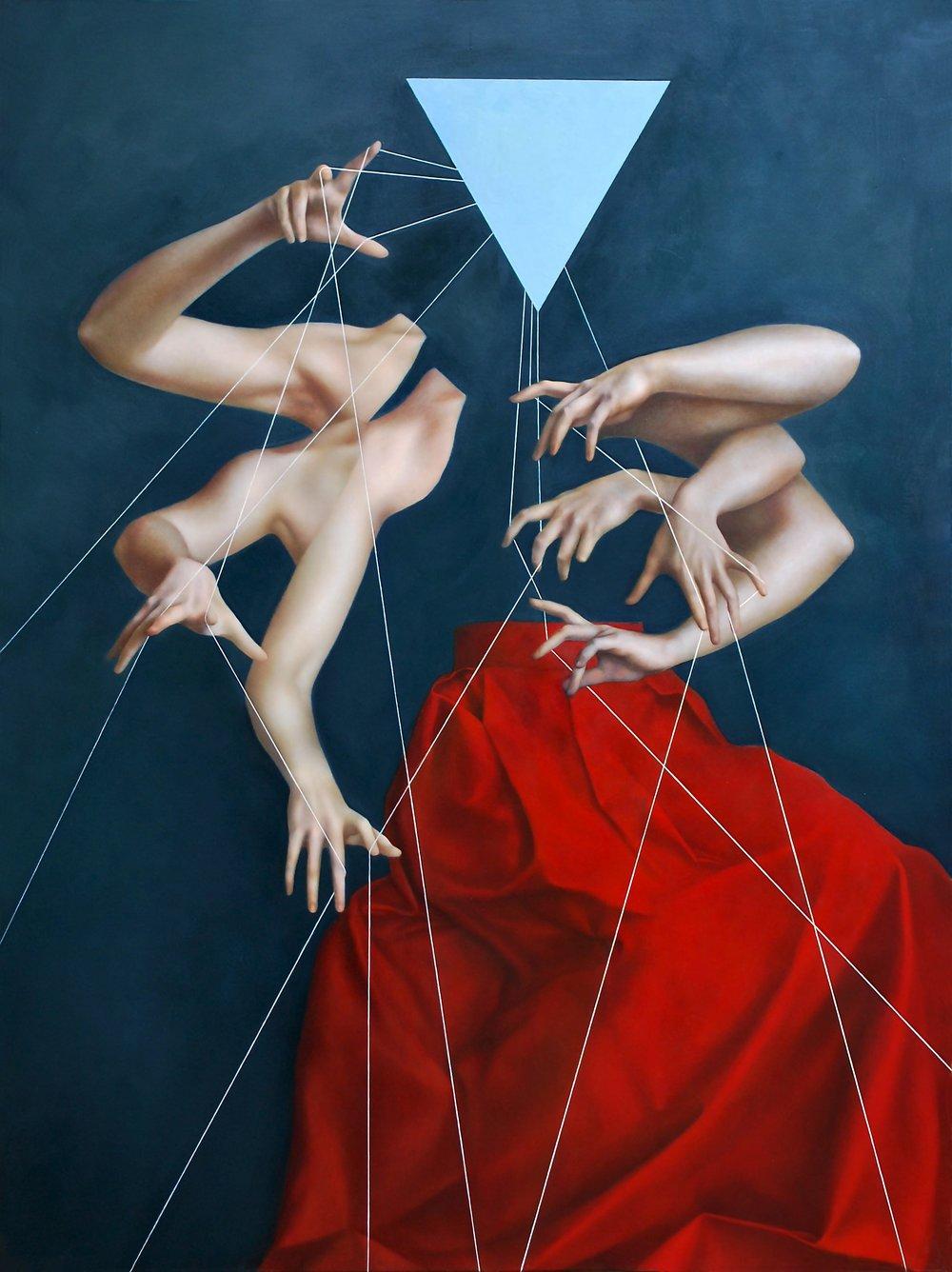 Moirai Blue, oil on canvas, 160 x 120 cm, 2015