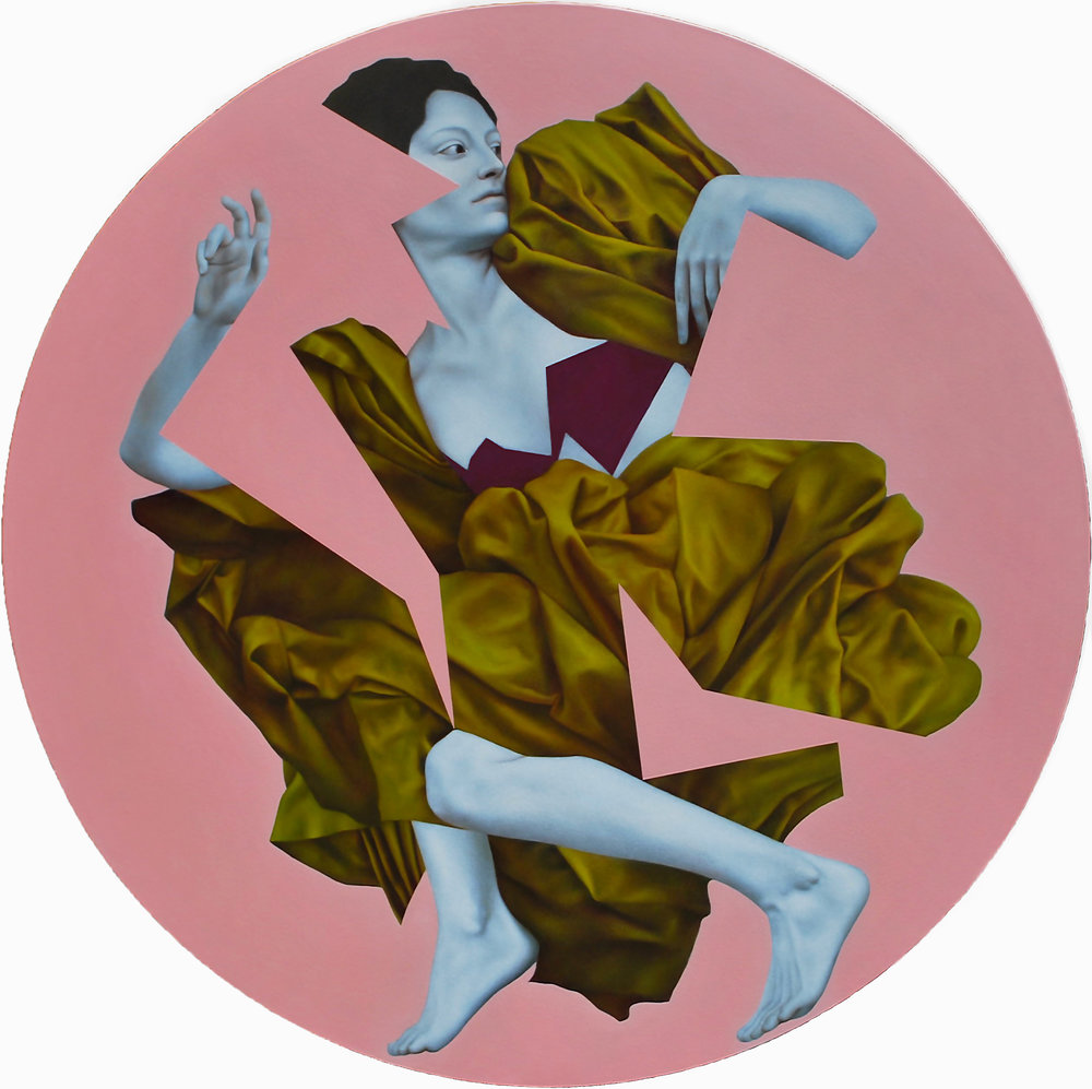 Idmon Pink, oil on canvas, 120 cm diameter, 2016