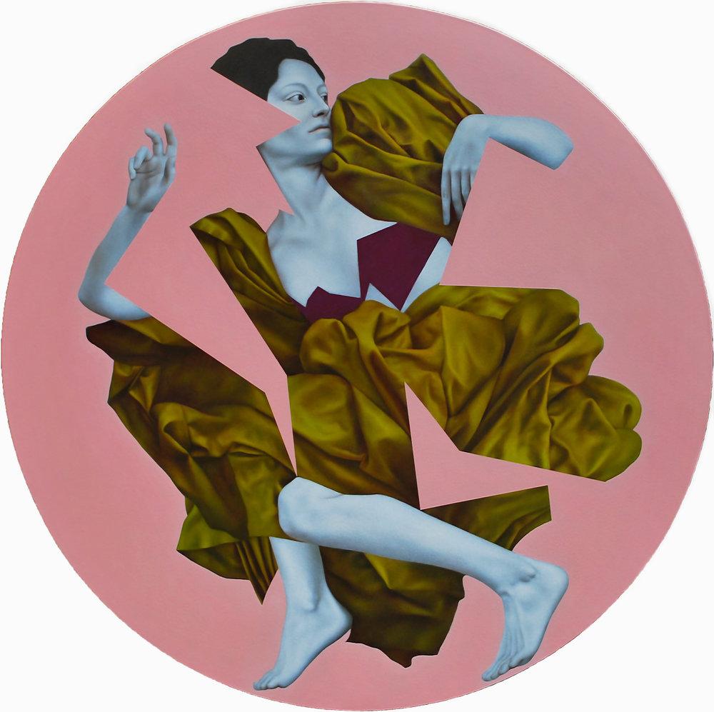 Idmon Pink, oil on canvas, 120 cm diameter, 2016