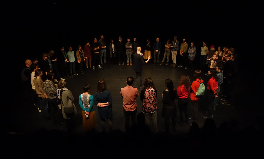Participants playing ' SEE' , a Transformation Game by Áron Birtalan - 2017, Frascati Theater, Amsterdam, NL   - photo by Julia Willms