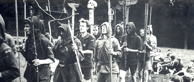 Kibbo Kift Kindred , men and boys on camp parade with totems -1925, United Kingdom