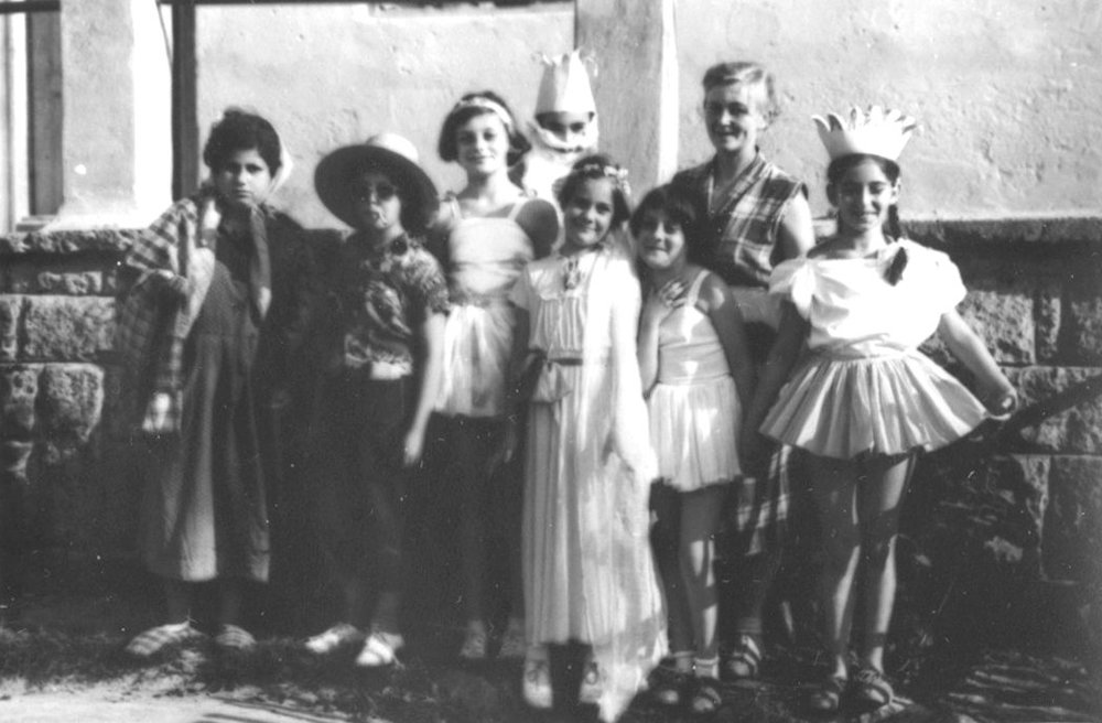 Citizens in the Kingdom of Pipecland with founder Eszter Leveleki (second from right) - 1958, Bánk, Hungary