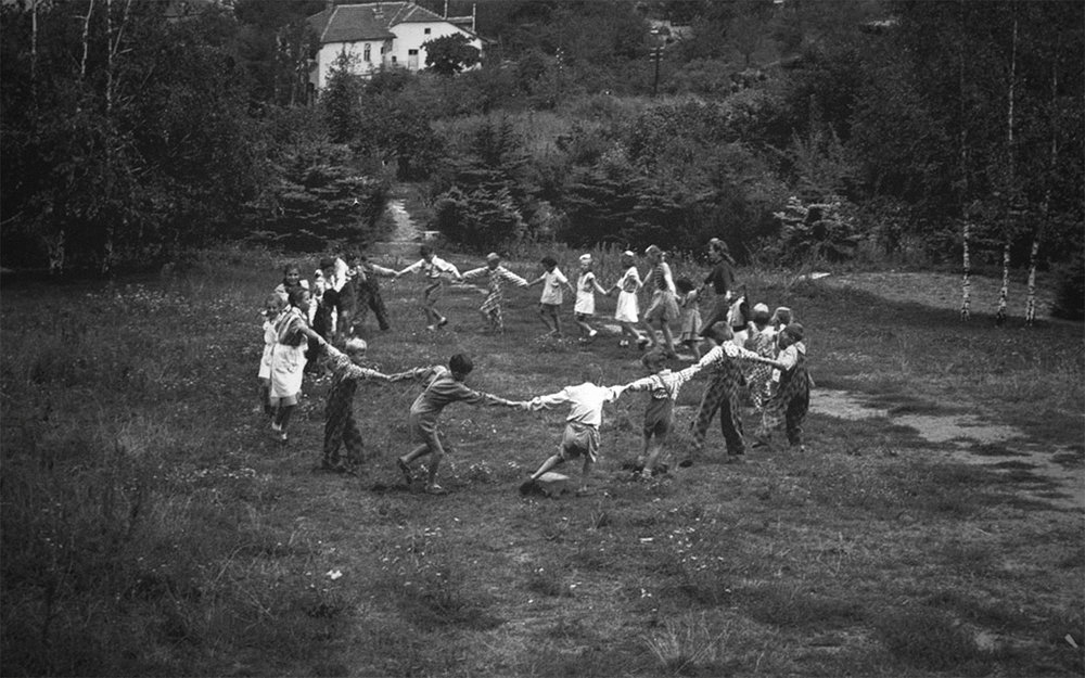 Children playing in a suburban park, photographed by David Seymour - 1948, Budapest, Hungary