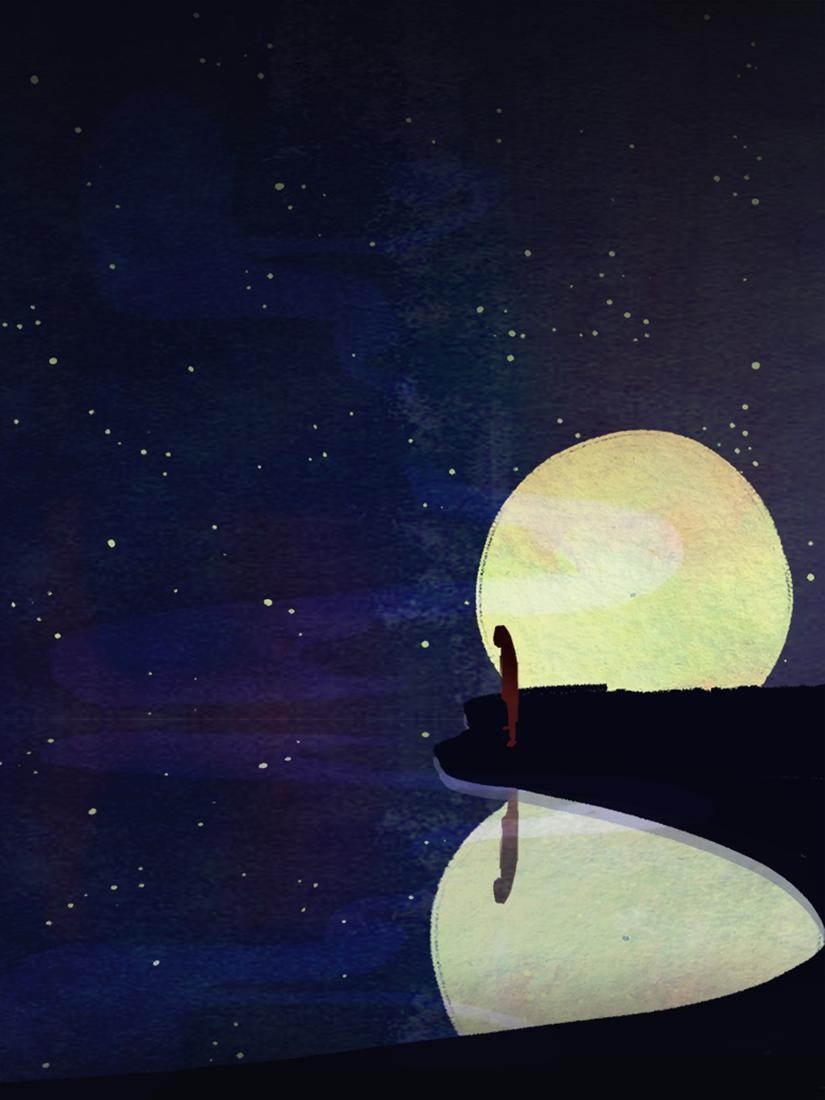 Moonscene Nbsp Digital Painting Over Sketch