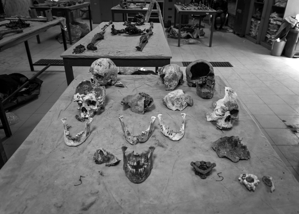 Human remains which were recovered from mass graves in a workshop in the Baghdad mortuary.