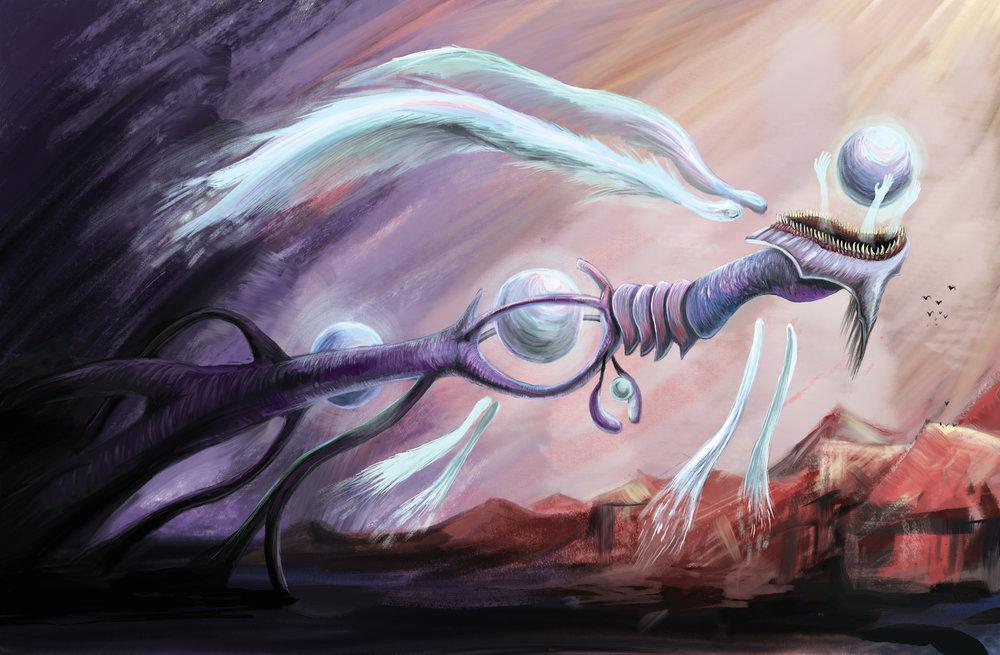 Thanus Cathedral Terror. Digital painting.
