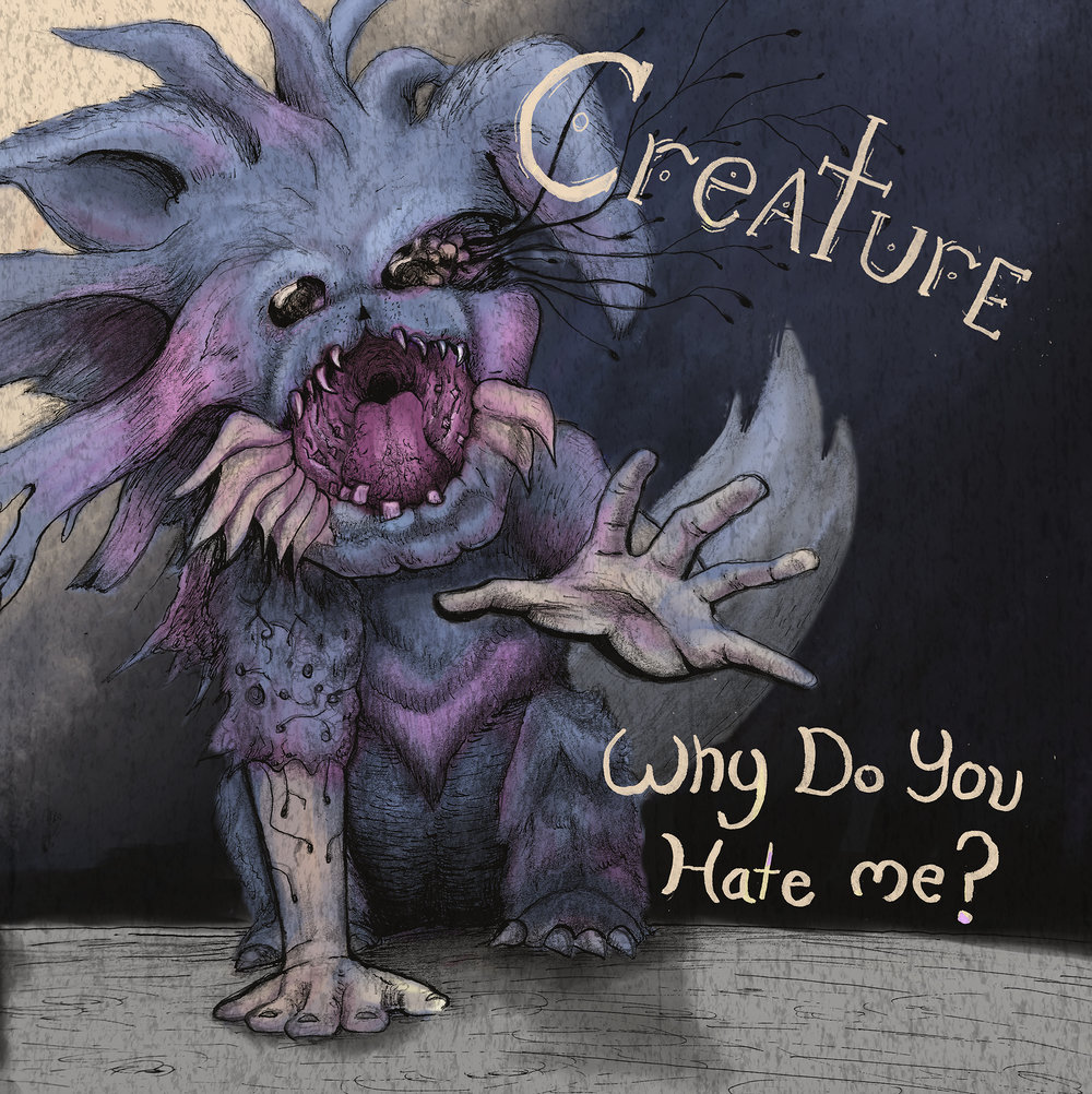 Creature Album Cover   A project I had. I got to make a band and design a cover for them. I wanted to make a band about ugly monsters that just want to be loved. Traditional Ink with digital color.