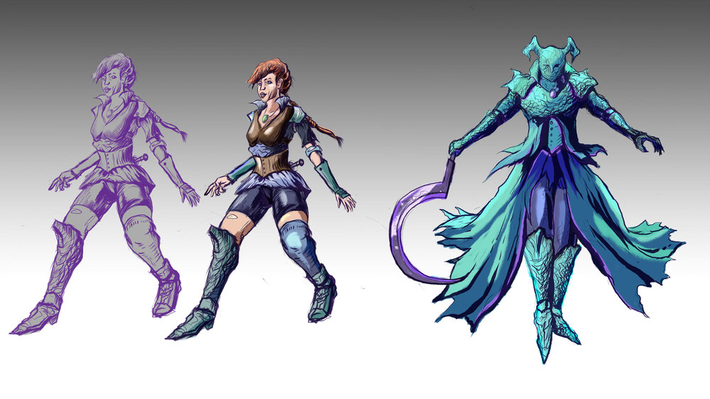 Concept Art for Descension Characters. Fast Process.