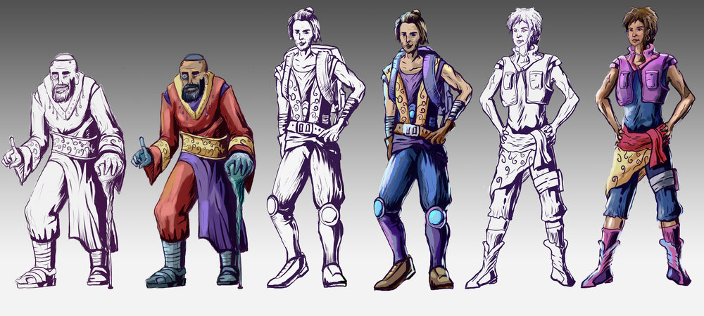 Several concept art characters to use for Descension. Fast Process.