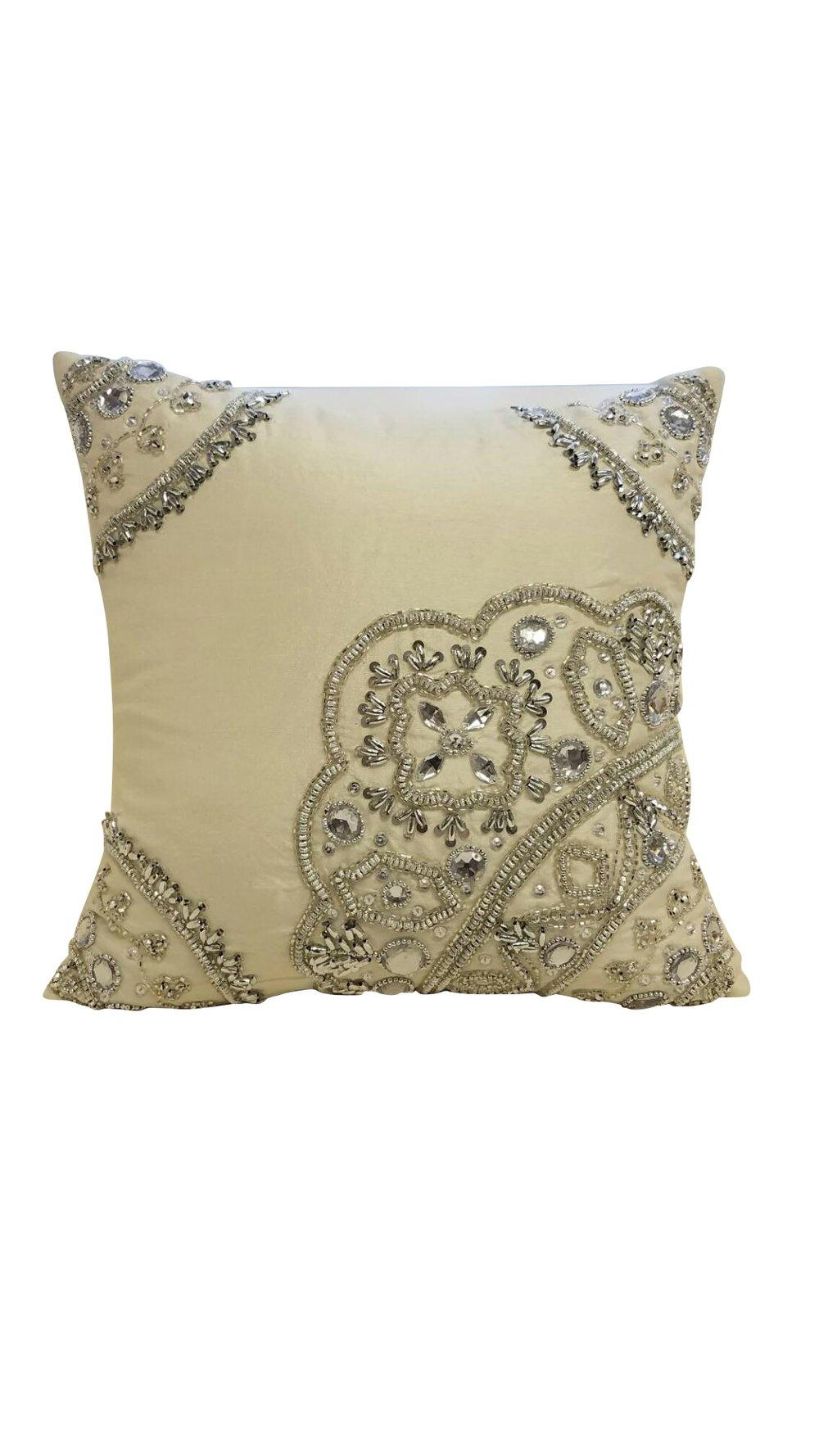 Ornate Beading Throw Pillow