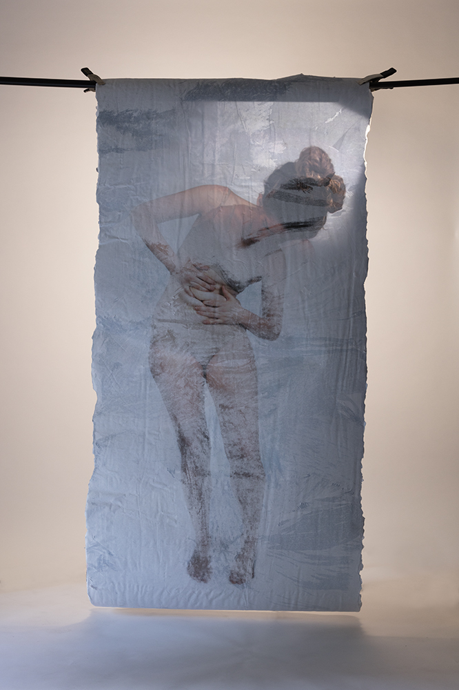 Excavation I (front, alternative lighting), Fall 2017, Gel medium Photo Transfer, 40in x 90in