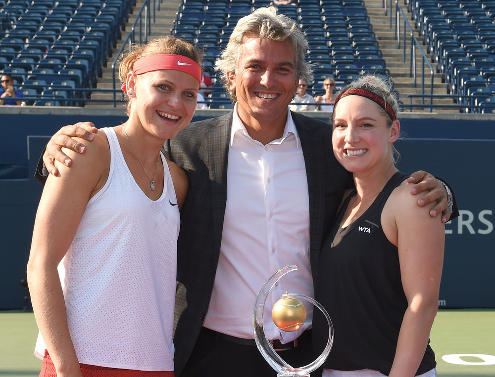 Lucie Safarova, Karl, Bethanie Mattek Sands (The 2015 Rogers Cup Toronto Doubles Champions)