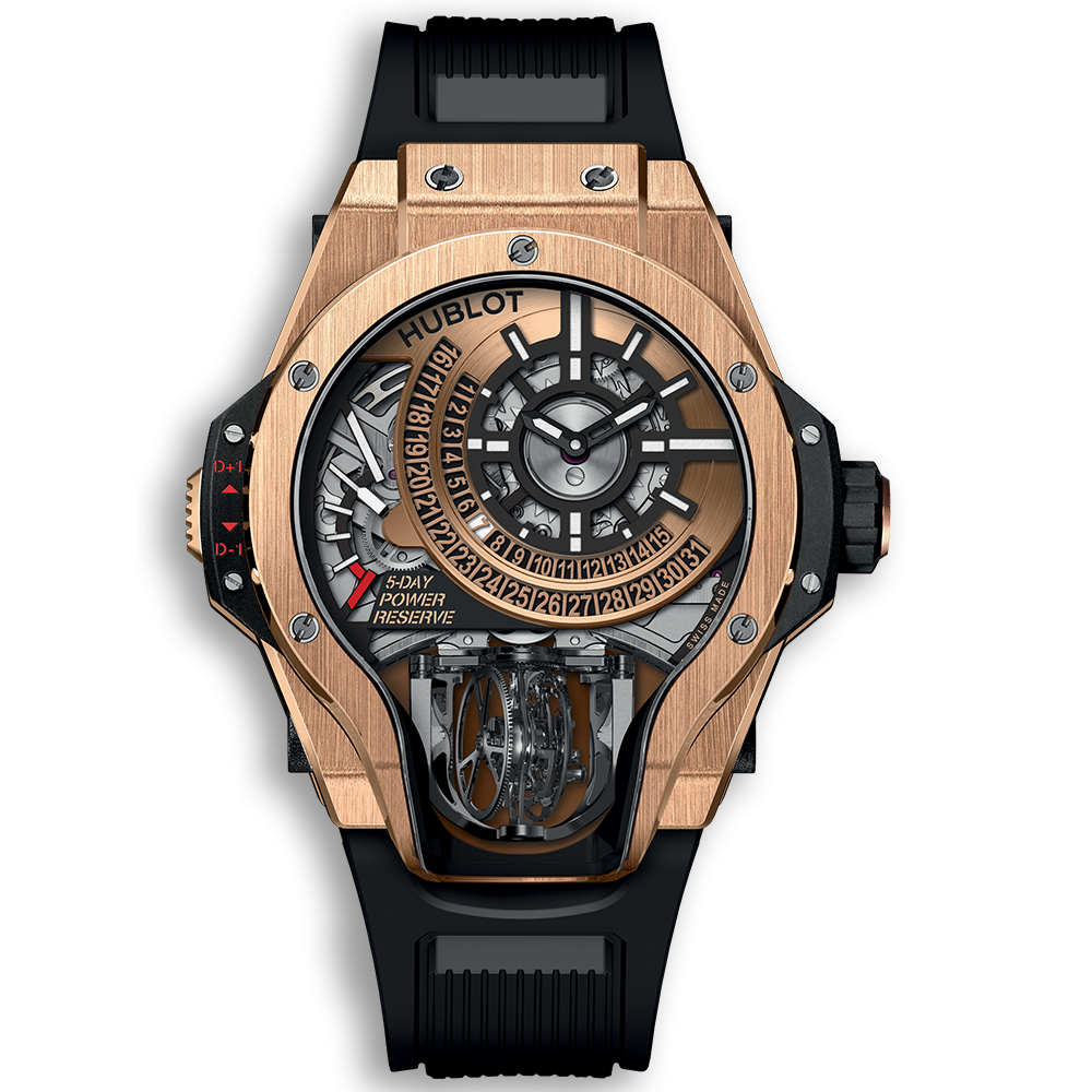 Hublot MP-09 tourbillon bi-axis With a three-sided sapphire crystal case, the new MP-09 Tourbillon Bi-Axis sees Hublot soaring to new heights. The device's engine is an automatic 43-jewel HUB9009.H1.RA calibre that operates at 3 Hz and possesses a five-day power reserve. The movement is powered by a bi- axial tourbillon, which fully rotates every minute on one axis and every half-minute on another. This phenomenal watch will be available exclusively in titanium, titanium pavé, and King Gold. Case: 49 mm Movement: MP-09 tourbillon bi-axis Titanium price: $169,000 Titanium pave price: $190,000 King Gold price: $211,000